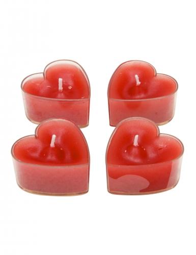 4 Bougies chauffe-plats cœur rouge 4 x 4 cm