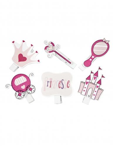 6 Pinces décoratives thème Princesse 4 cm