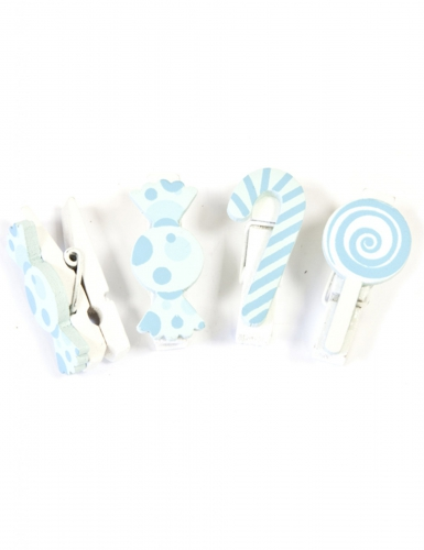 6 Pinces décoratives Bonbon en bois bleu ciel 3,5 cm