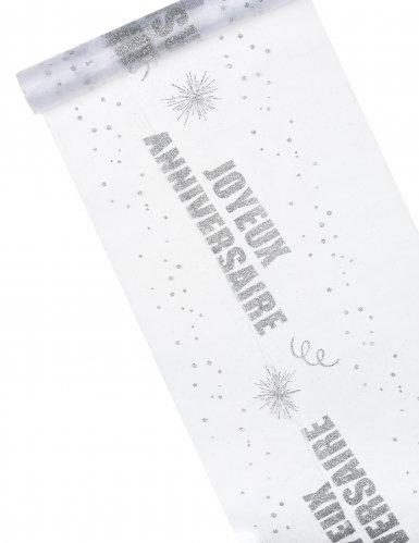 Chemin de table organza Joyeux Anniversaire argent 29 cm x 5 m