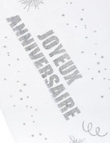 Chemin de table organza Joyeux Anniversaire argent 29 cm x 5 m-1