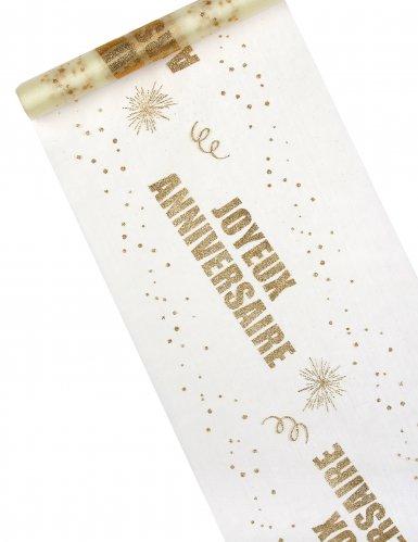 Chemin de table organza Joyeux Anniversaire doré 29 cm x 5 m