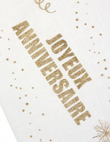 Chemin de table organza Joyeux Anniversaire doré 29 cm x 5 m-1