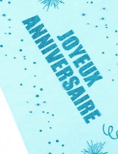 Chemin de table organza Joyeux Anniversaire turquoise 29 cm x 5 m-1