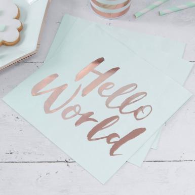 20 Serviettes en papier Hello World menthe et rose gold 33 x 33 cm-1
