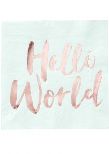 20 Serviettes en papier Hello World menthe et rose gold 33 x 33 cm