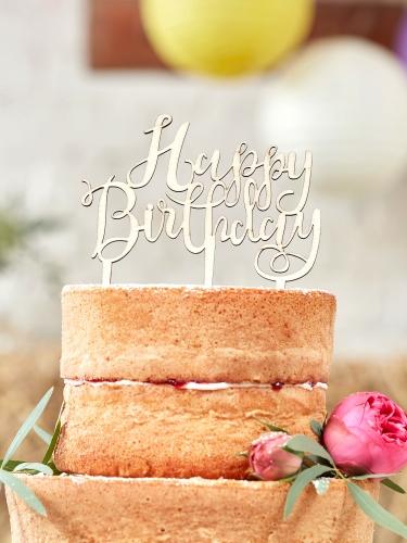 Décoration de gâteau en bois Happy Birthday 12,5 x 14 cm-1