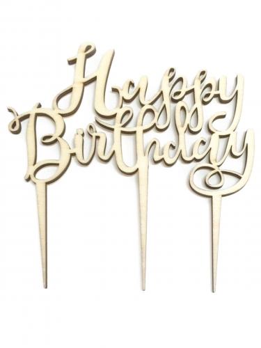 Décoration de gâteau en bois Happy Birthday 12,5 x 14 cm