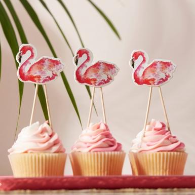 8 Décorations pour gâteaux sur pics Flamant rose 12,5 cm-1