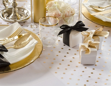 Chemin de table en organza blanc avec pois doré 36 cm x 9 m-1