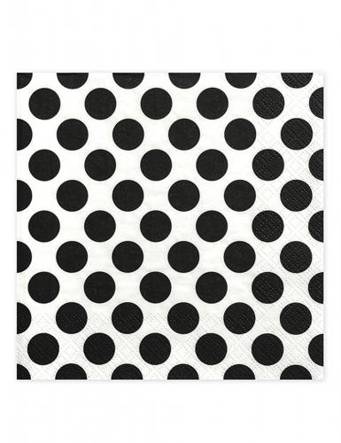 20 Serviettes en papier Pois noir et blanc 33 x 33 cm