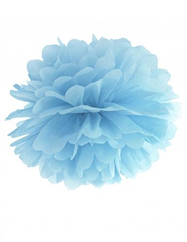 Pompon à suspendre en papier bleu 25 cm