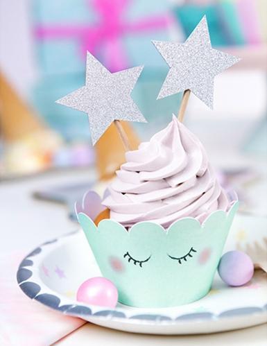 6 Décorations pour gâteau sur pique Etoile argent pailleté 11,5 cm-2