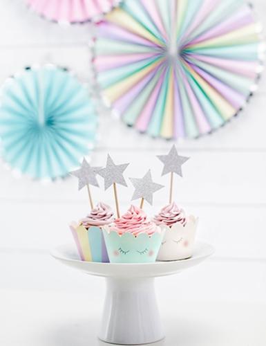 6 Habillages à cupcake Licorne 7,5 x 5 cm-2