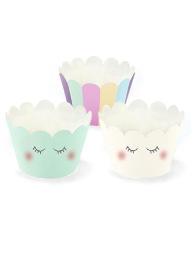 6 Habillages à cupcake Licorne 7,5 x 5 cm