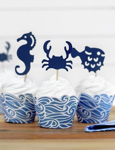 6 Décorations pour gâteau sur pique bleu Crustacés 11,5 à 13 cm-2