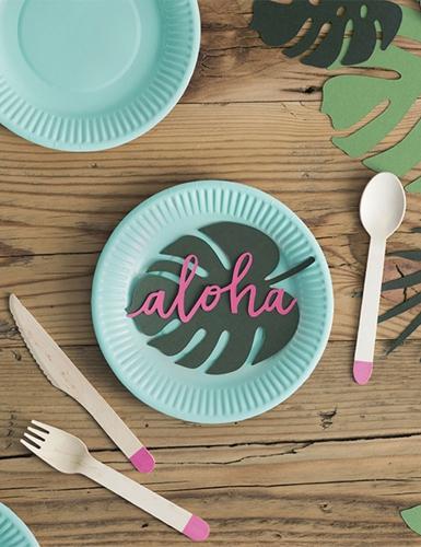 6 Petites assiettes en carton turquoise 18 cm-1