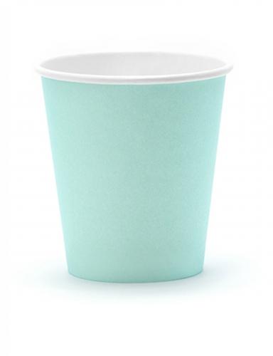 6 Gobelets en carton turquoise 180 ml