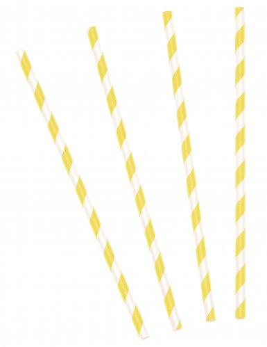 10 Pailles rayées jaunes 19,5 cm