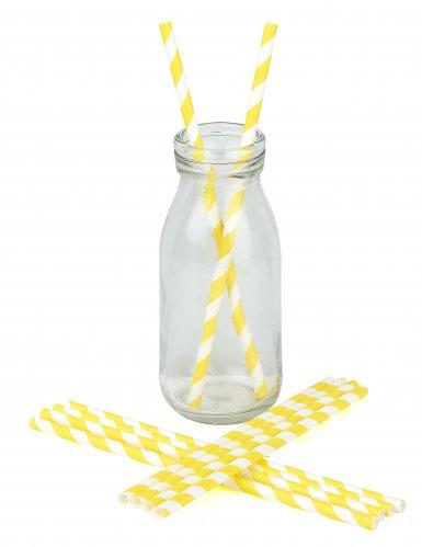 10 Pailles rayées jaunes 19,5 cm-1