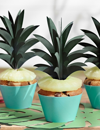 6 Pics pour gâteaux Feuille ananas en carton-1