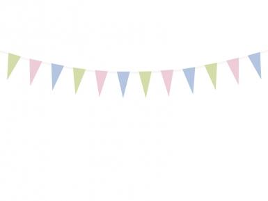 Guirlande en papier fanions couleurs pastels 1,35 m-1