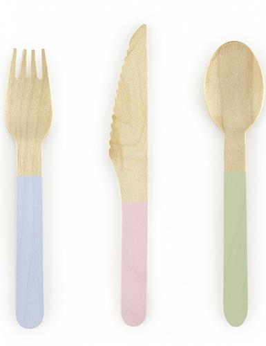 18 Couverts en bois avec manche en couleurs pastels 16 cm