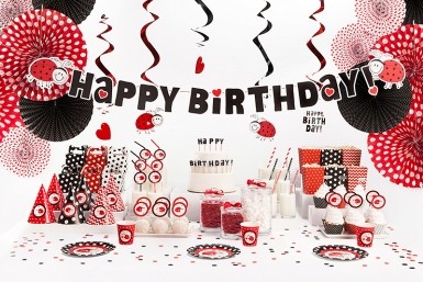 5 Suspensions spirales Happy Birthday Coccinelle 60 cm-2