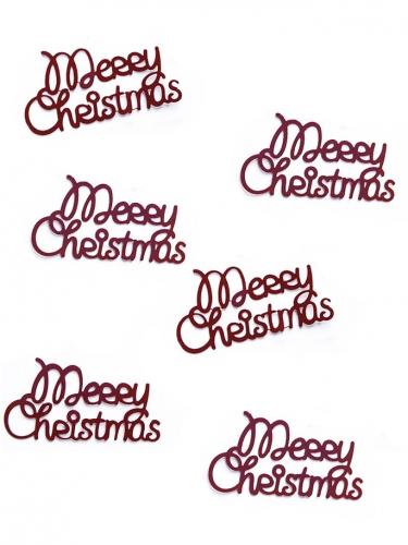 Confettis de table métallique Merry Christmas rouge 4 x 2 cm 3 g