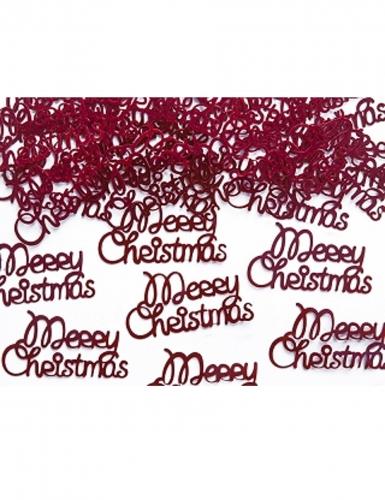 Confettis de table métallique Merry Christmas rouge 4 x 2 cm 3 g-1