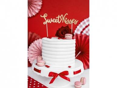 Décoration pour gâteau sur pique Sweet Kisses doré pailleté 16,5 cm-2