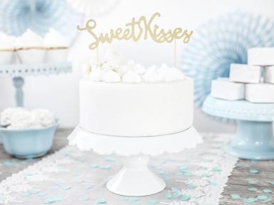 Décoration pour gâteau sur pique Sweet Kisses doré pailleté 16,5 cm-1
