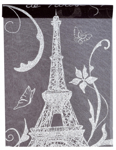 Chemin de table en tissu Paris noir et blanc 5 m