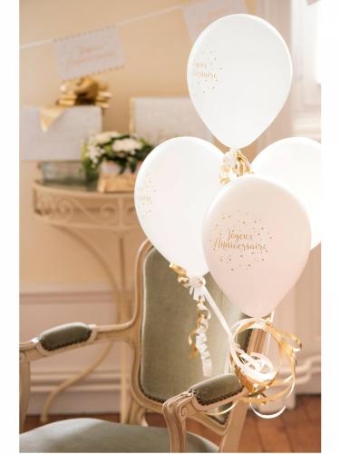 8 Ballons en latex Joyeux Anniversaire blanc et doré métallisé 23 cm-1