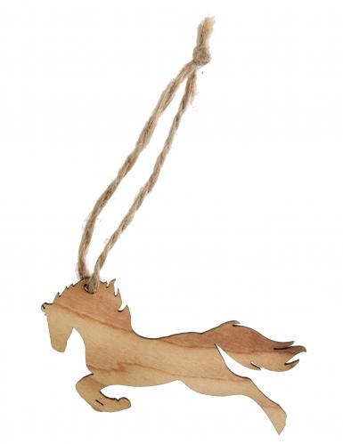 6 Marque-places Cheval avec cordon en bois vieilli 7 x 4,2 x 16 cm