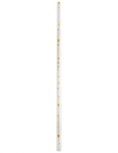 20 Pailles Joyeux Anniversaire métallisé blanc et doré 19,2 x 0,6 cm