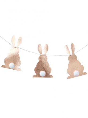 Guirlande en papier Pompons de Lapins rose gold 2 m