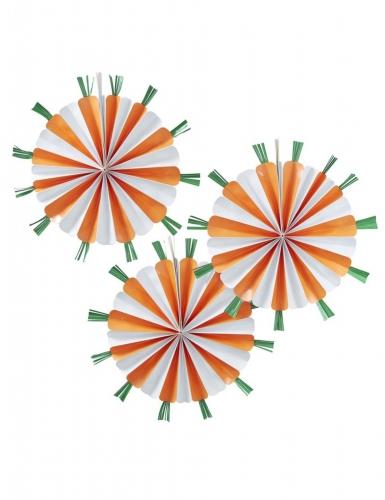 3 Rosaces à suspendre en forme de Carottes orange 40 cm