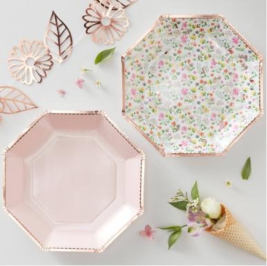 8 Assiettes en carton rose gold floral octogonales 23 cm-1