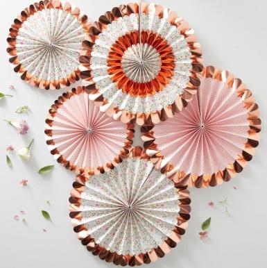5 Rosaces à suspendre rose gold floral 38 cm et 28 cm-1