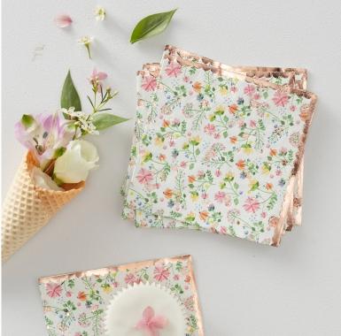 16 Petites serviettes en papier rose gold floral 25 x 25 cm-1