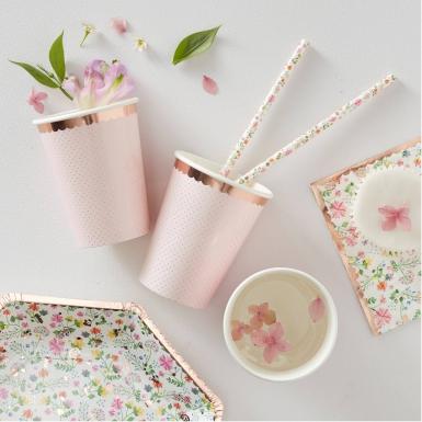 8 Gobelets en carton rose gold floral 26 cl-1