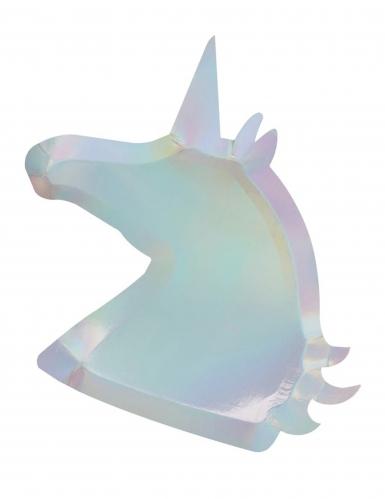 8 Plats en carton Licorne iridescente 25 x 30 cm