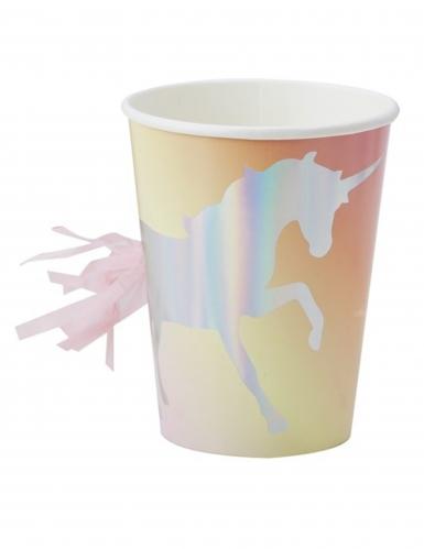 8 Gobelets en carton avec tassel Licorne iridescente 26 cl
