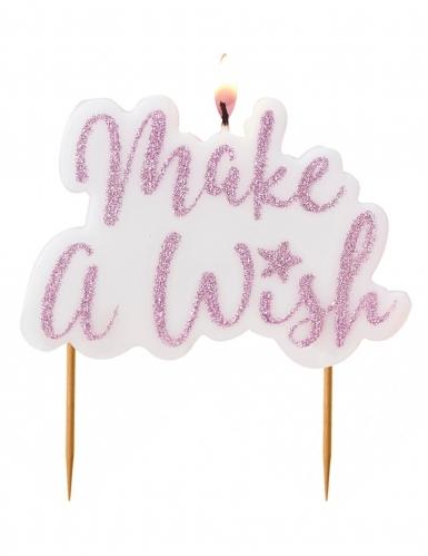 Bougie sur pique Make a Wish rose pailleté 11,5 x 8 cm