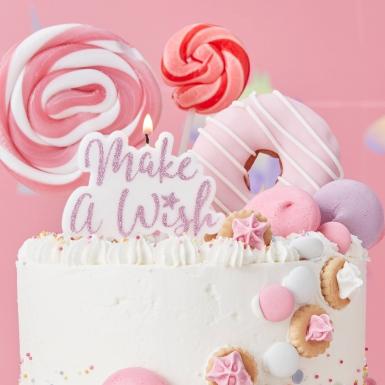 Bougie sur pique Make a Wish rose pailleté 11,5 x 8 cm-1