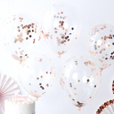 5 Ballons transparents à confettis ronds rose gold 30 cm-1