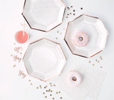8 Assiettes en carton pois rose gold métallisé octogonale 25 cm-1