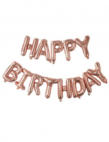 Ballons lettres Happy Birthday rose gold 1,5 m
