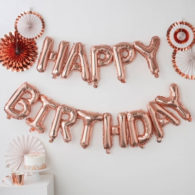 Ballons lettres Happy Birthday rose gold 1,5 m -1